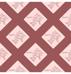 Seamless pattern with symbols from Aztec codices vector image