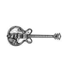 semi-acoustic jazz bass guitar in monochrome vector image