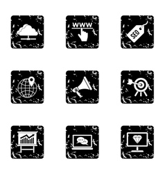 SEO optimization icons set grunge style vector