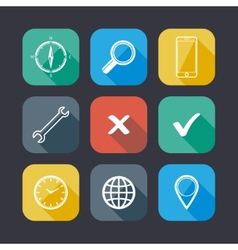 set application web icons flat design with long vector image