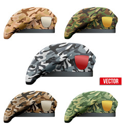 Set of Military Camo Beret Special Forces vector image