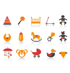 simple baby icons set vector image