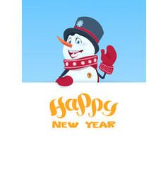 Snowman holding banner with happy new year vector