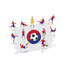 soccer player team with south korea flag vector image