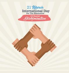 Stop racism international day poster vector
