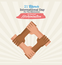 Stop racism international day poster with vector