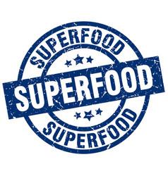 Superfood blue round grunge stamp vector