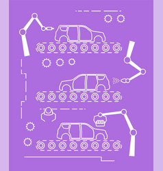 Thin line style car assembly line vector