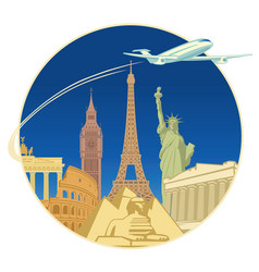 travel banner with tourist attractions and plane vector image