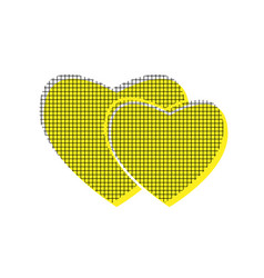 Two hearts sign yellow icon with square vector
