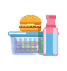 Unhealthy school lunch with fat food isolated vector