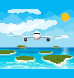 View aircraft in sky tropical islands vector