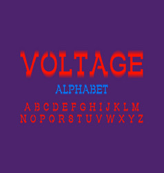 voltage alphabet red electric artistic font vector image