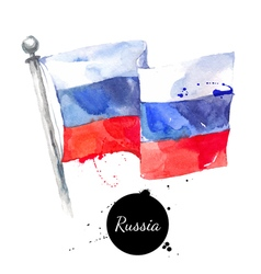 watercolor russia flag hand drawn on white vector image