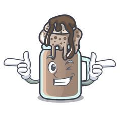 Wink milkshake character cartoon style vector