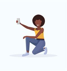 woman taking selfie photo on smartphone camera vector image