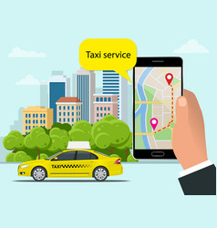 yellow taxi cab and mobile application in phone vector image