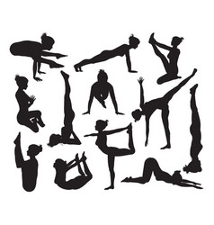 Yoga poses silhouettes vector