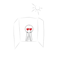 Young man thinking about love vector image