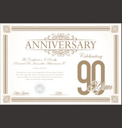 anniversary retro vintage background 90 years vector image vector image