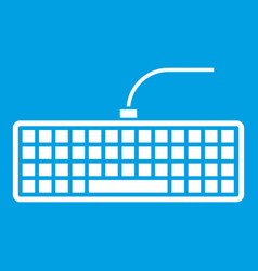 black computer keyboard icon white vector image