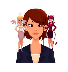 business woman with angel and devils decision vector image