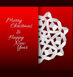 Card with white paper christmas snowflake vector