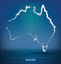 Doodle Map of Australia vector image