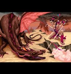 Fighting scene between dragon and elf vector