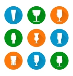 Flat beer glass icons set vector image vector image