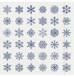Winter Snow Flakes Doodles vector image vector image