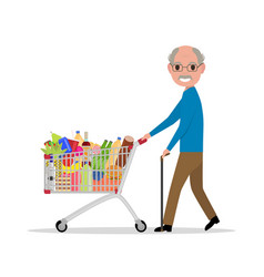 cartoon old man with a shopping trolley vector image