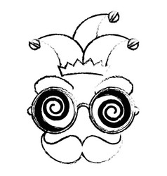 crazy eyes jester cap vector image vector image