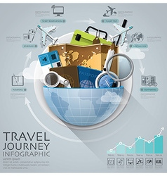 Global Travel And Journey Infographic With Round vector image