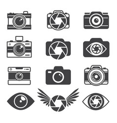 monochrome pictures of symbols for photographers vector image vector image