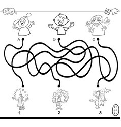 Paths maze with clowns coloring book vector