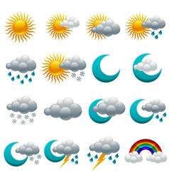 Colorful Glossy weather Icons vector image vector image