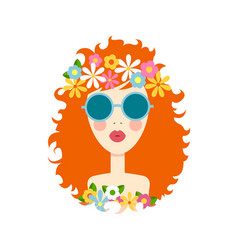 Face of cute girl with smile cartoon and flat vector