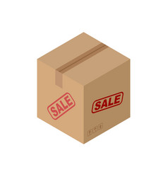 sale cardboard box isolated discount pasteboard vector image vector image