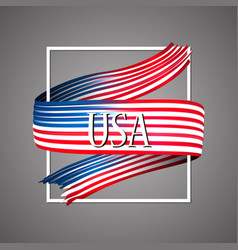united states of america flag usa 3d ribbon vector image