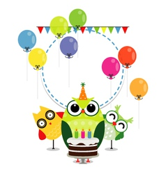 Birthday party card with funny birds vector image vector image