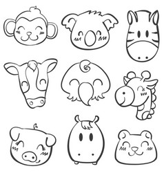 doodle of animal style cartoon vector image vector image