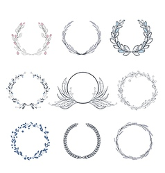 Floral wreath collection vector image vector image