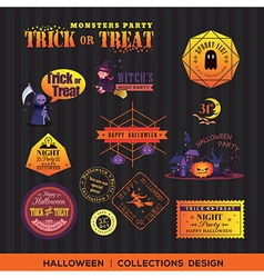 Halloween symbols Labels and frames vector image