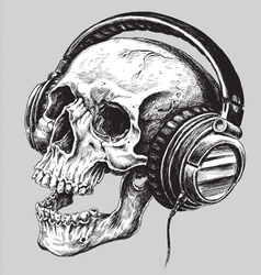 Hand drawn sketchy skull with headphones vector image