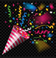 party popper for celebration on transparent vector image vector image