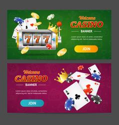 realistic casino banner horizontal set vector image