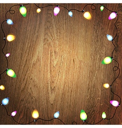 Wooden Background Color Bulb Garland vector image vector image