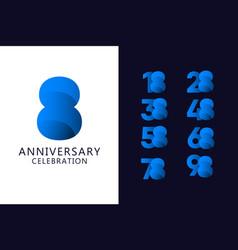 8 years anniversary celebration blue logo vector