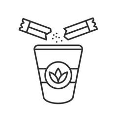Adding sugar to tea linear icon vector